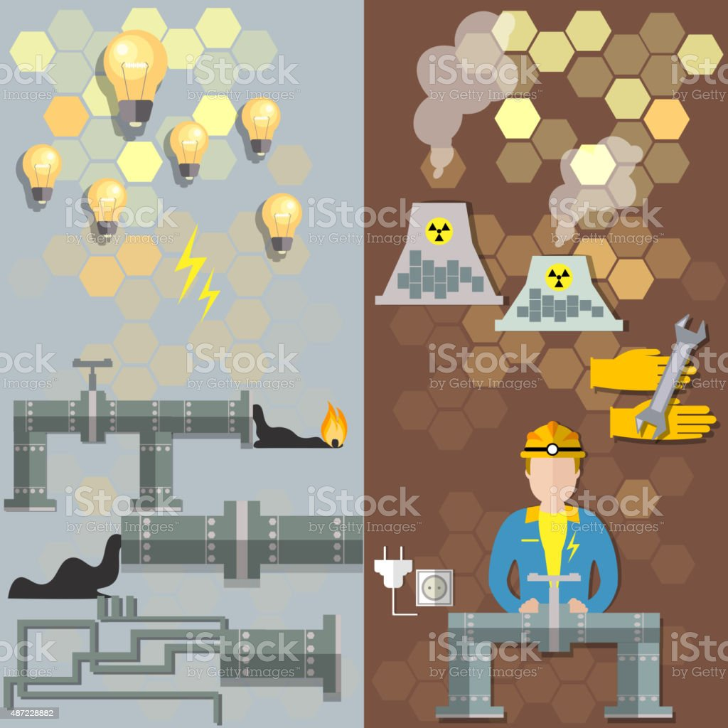 Nuclear plants, nuclear energy, oil, electrical,  pipe petroche, banners vector art illustration