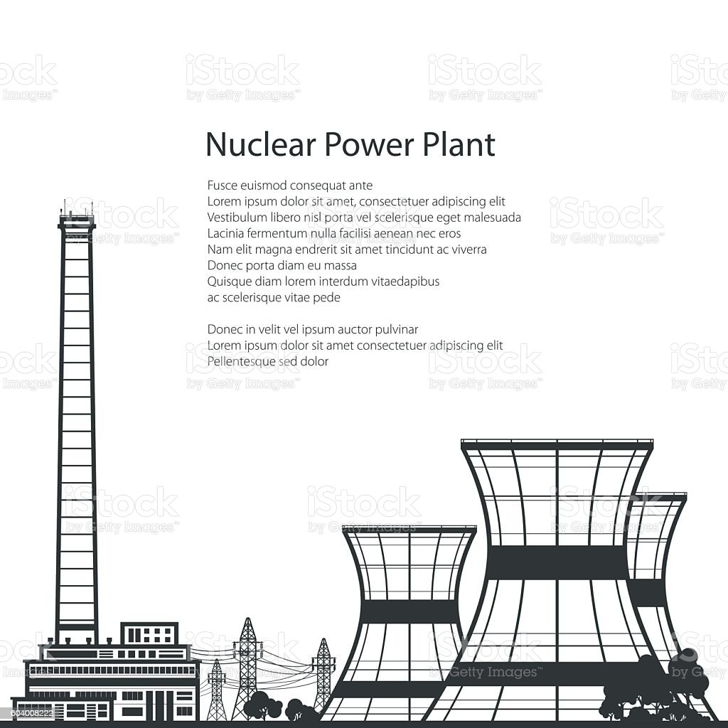 Nuclear Power Plant and Text vector art illustration