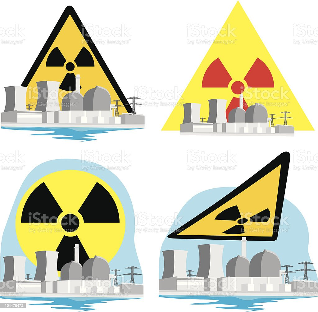 nuclear power plant - atomic risk royalty-free stock vector art