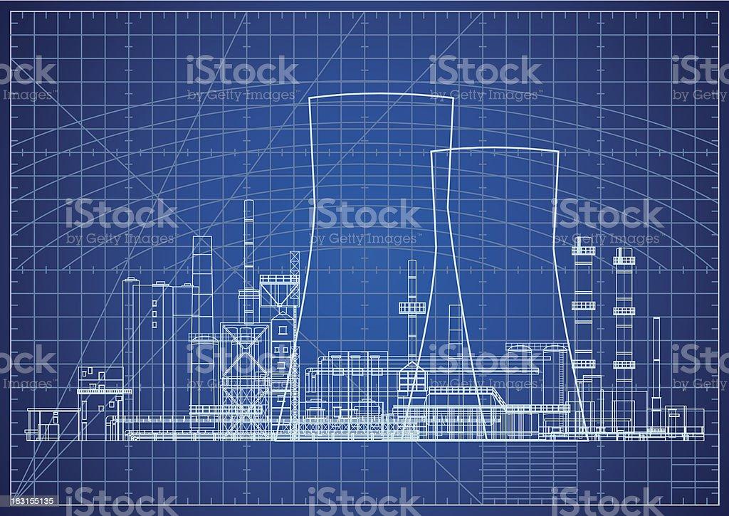 Nuclear power plant blueprint vector illustration royalty-free stock vector art