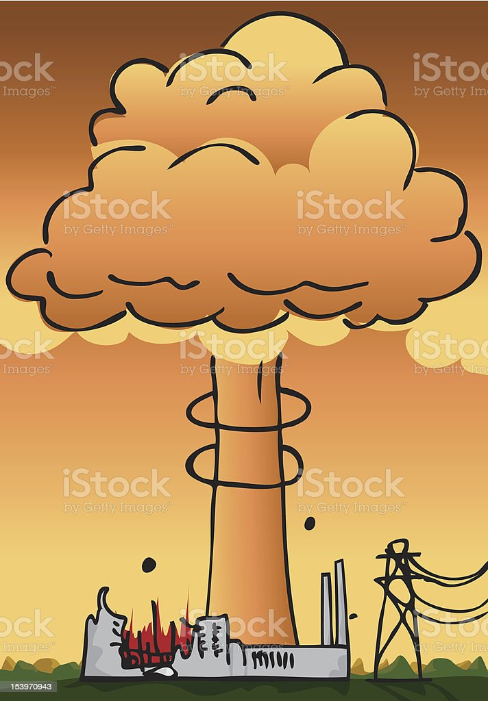 Nuclear Power Plant Disaster royalty-free stock vector art