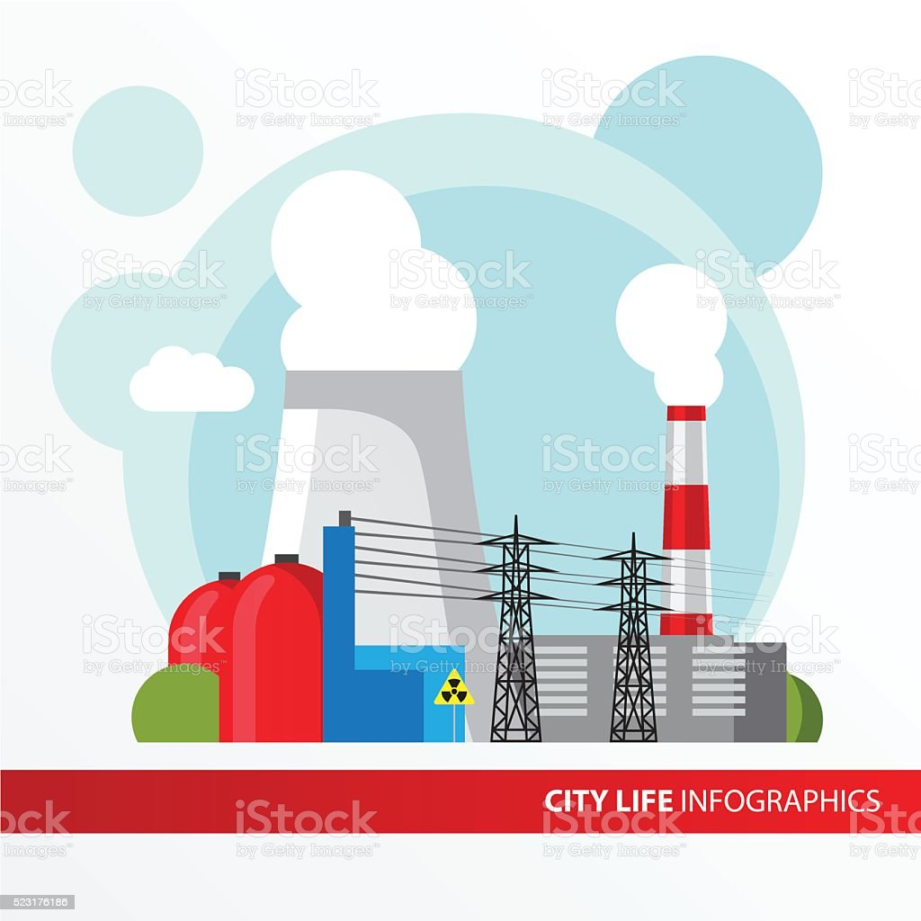 Nuclear power plant illustration in a flat style. vector art illustration
