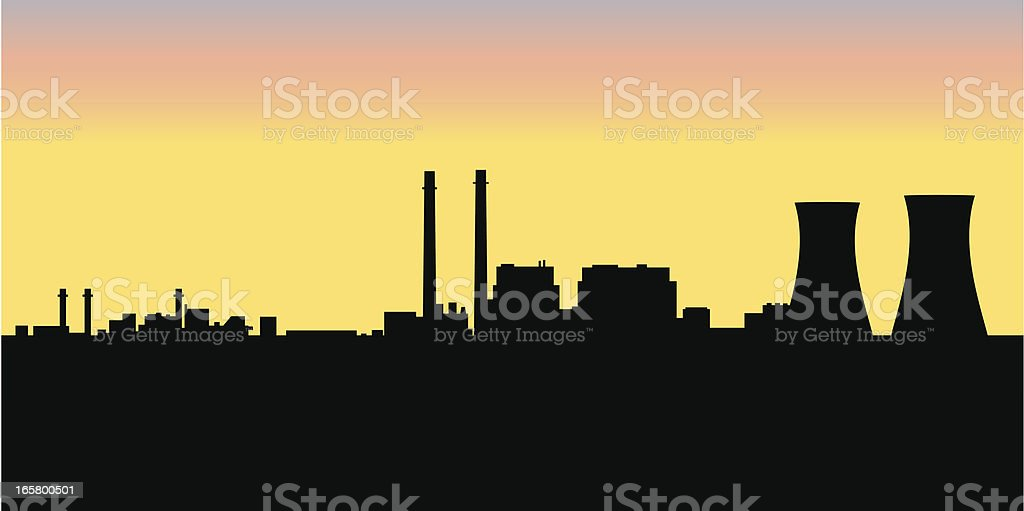 Nuclear Power Plant Silhouette vector art illustration