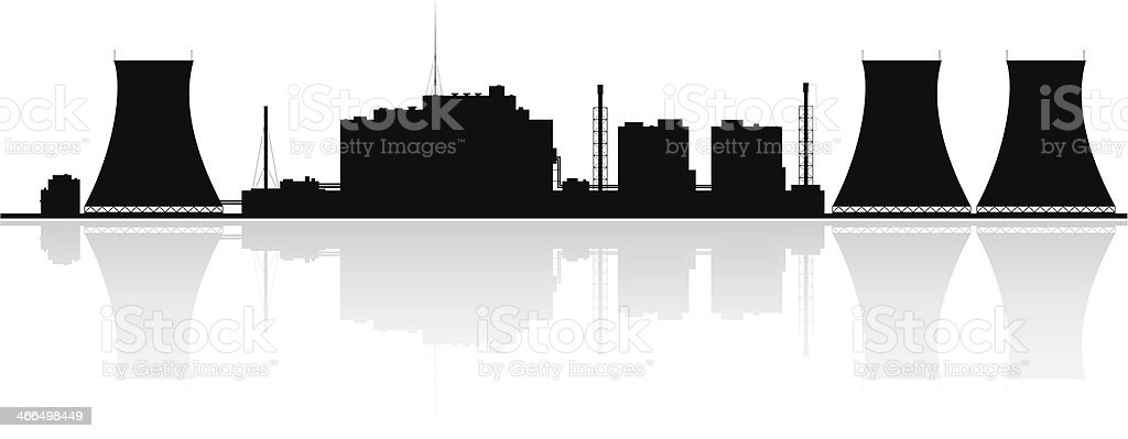 Nuclear power plant skyline silhouette on a white background vector art illustration