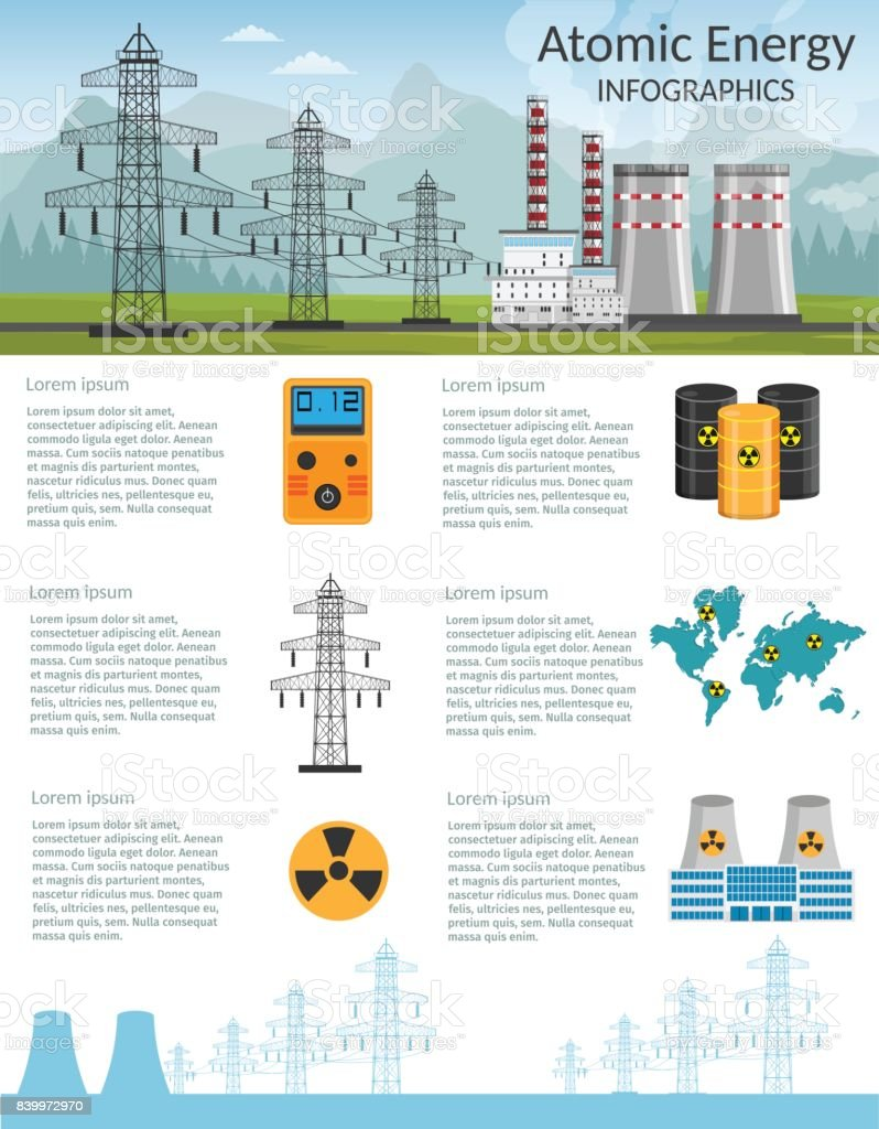 Nuclear power plant vector illustration for background infographics of atomic energy. vector art illustration