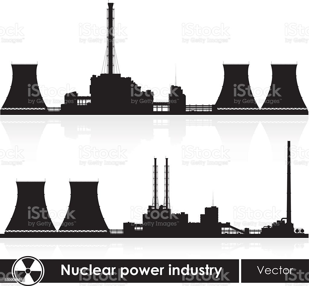 Nuclear power plants silhouette isolated on white. Vector illustration. vector art illustration