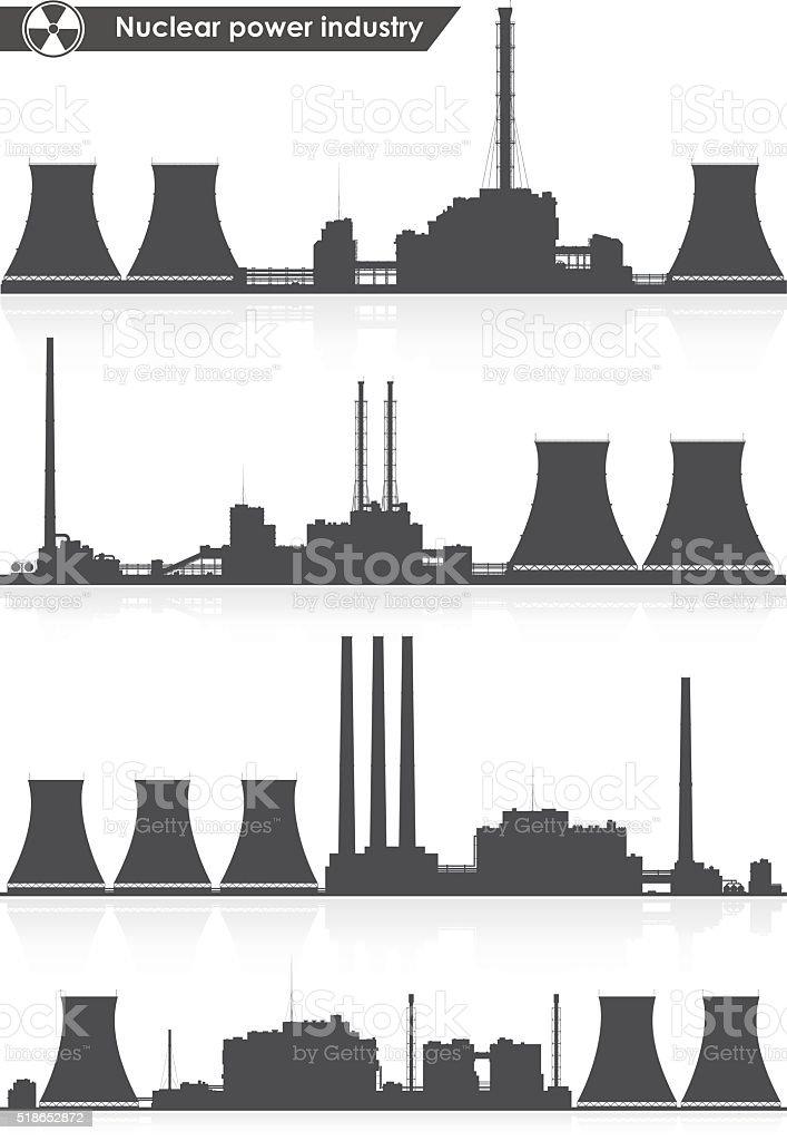 Nuclear power plants silhouettes. Vector illustration. vector art illustration