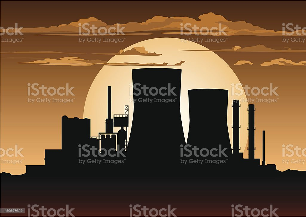 Nuclear Power Station at Night vector art illustration
