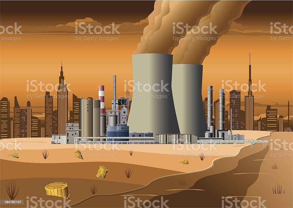 Nuclear Power Station vector art illustration