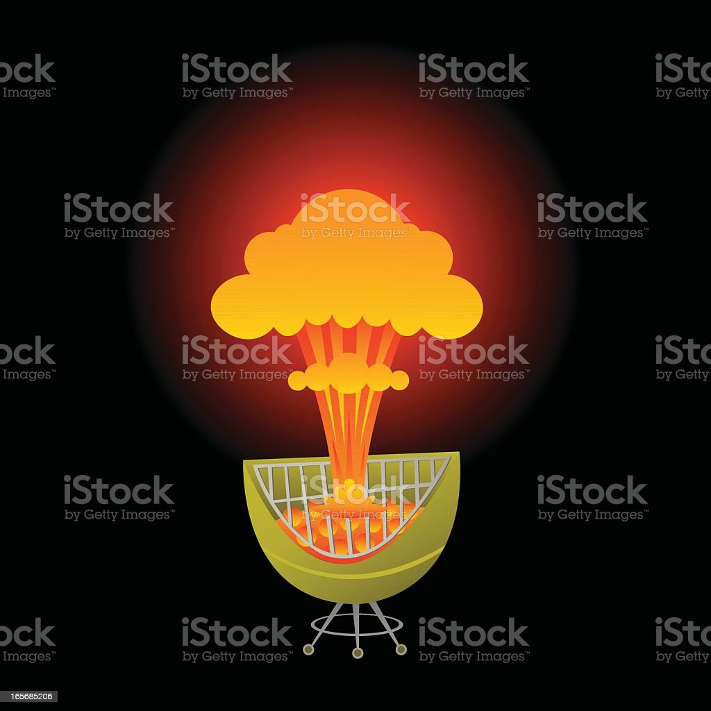 Nuclear Powered Grilling royalty-free stock vector art
