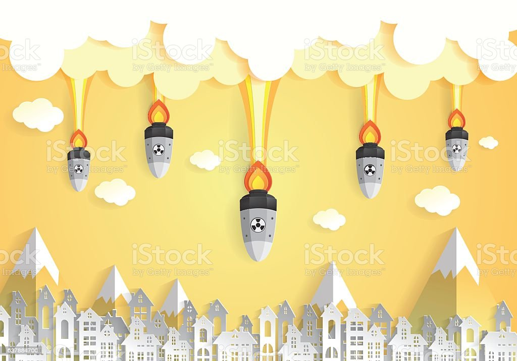 Nuclear war - atom bombs falling on the city vector art illustration
