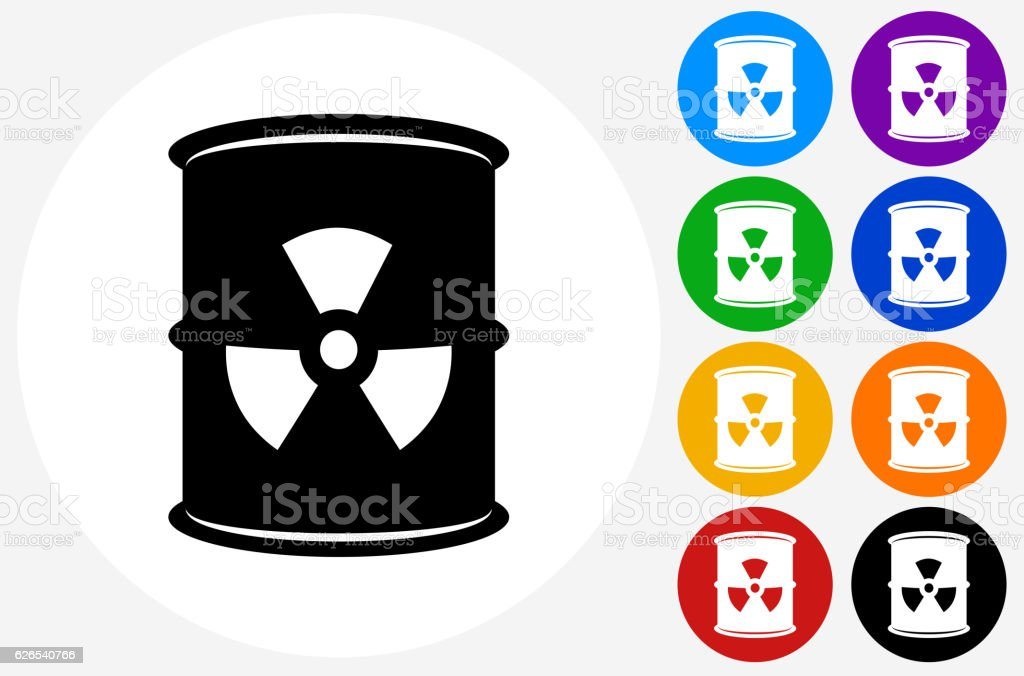 Nuclear Waste Barrel Icon on Flat Color Circle Buttons vector art illustration