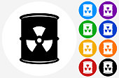 Nuclear Waste Barrel Icon on Flat Color Circle Buttons
