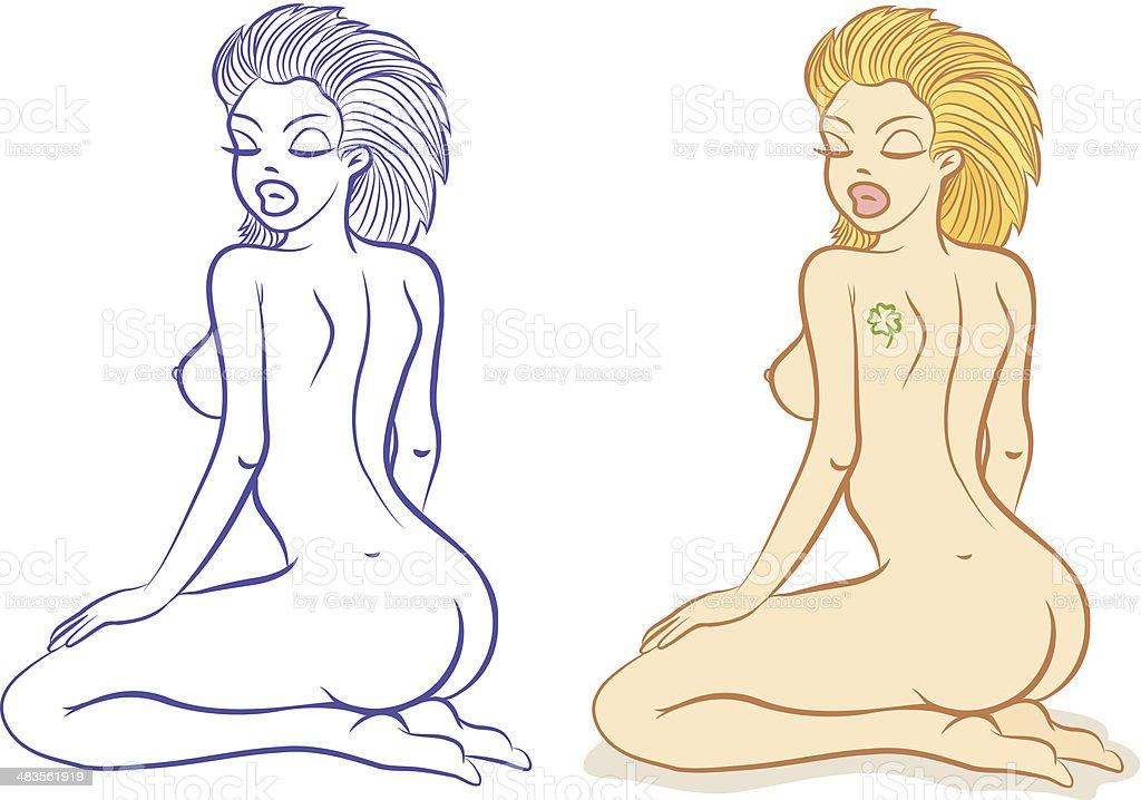 Nude girl vector art illustration