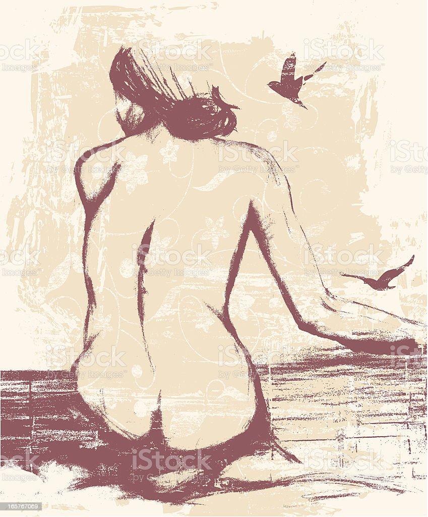 Nude Hand Drawing vector art illustration