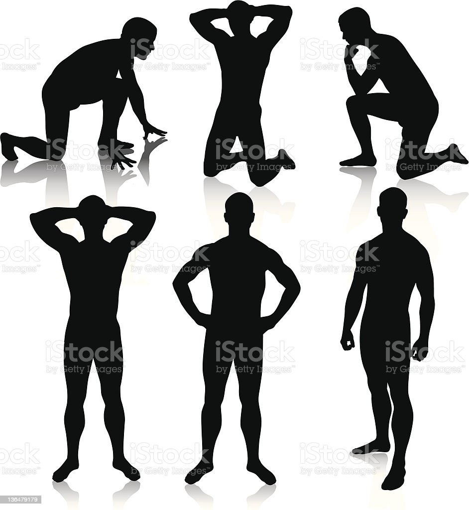 Nude Male Silhouettes vector art illustration