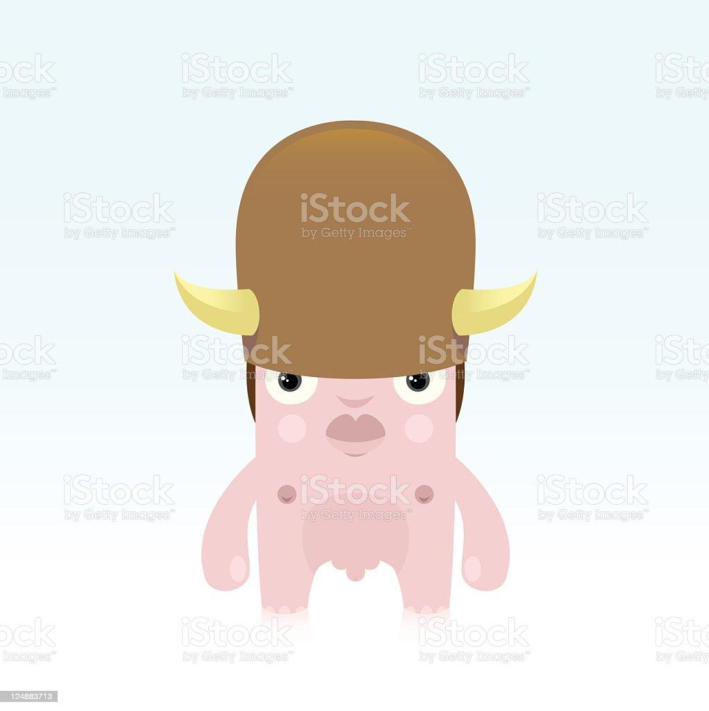 nude man with buffalo hat vector art illustration