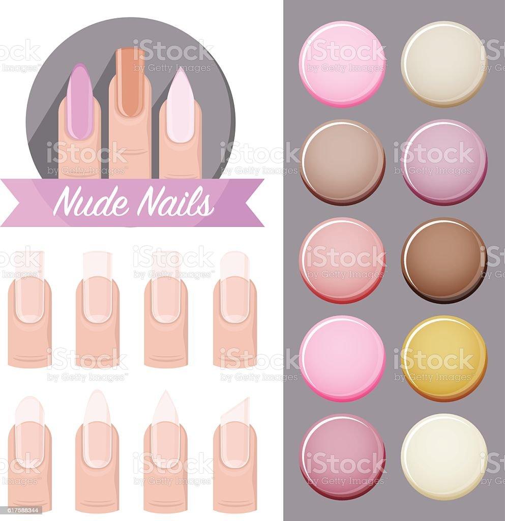 nude nails salon vector logo icons polish color palette