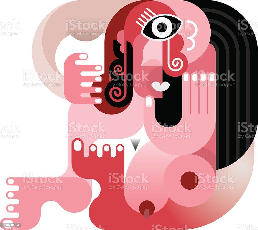 Nude woman vector art illustration