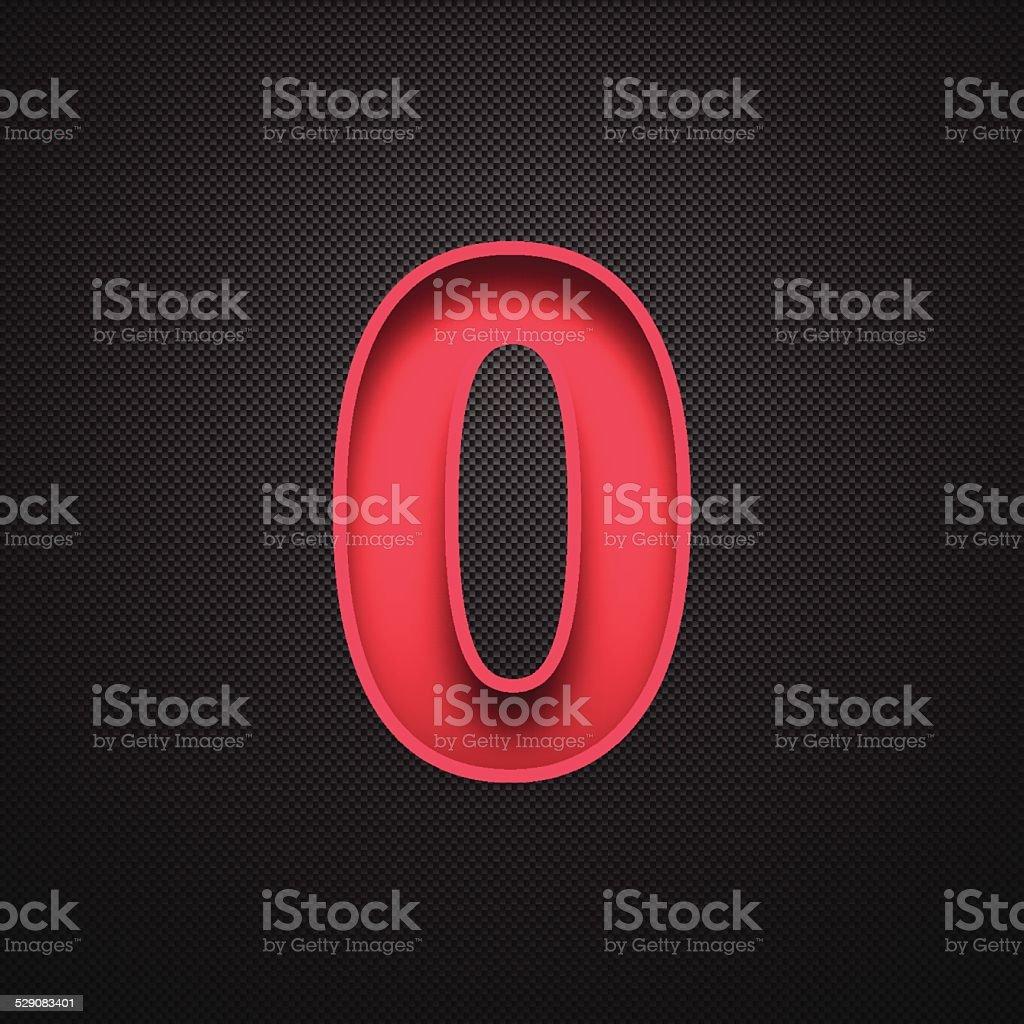 Number 0 Design (Zero). Red Number on Carbon Fiber Background vector art illustration