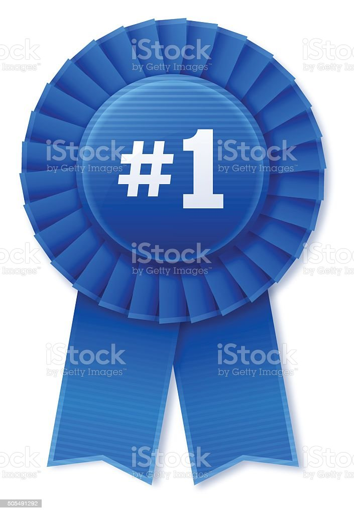 Number 1 Blue Ribbon vector art illustration