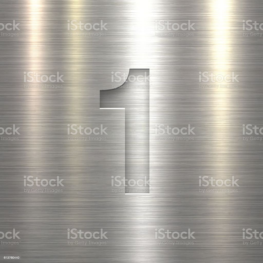 Number 1 Design (One). Number on Metal Texture Background vector art illustration