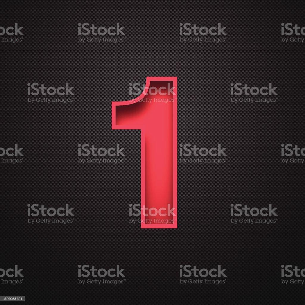 Number 1 Design (One). Red Number on Carbon Fiber Background vector art illustration