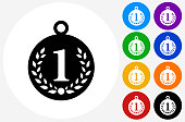 Number 1 Medal Icon on Flat Color Circle Buttons
