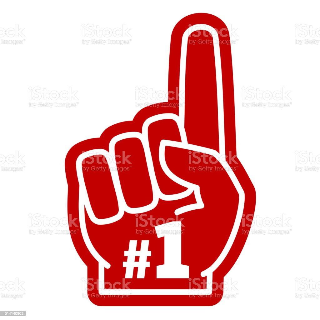 Number 1 one sports fan foam hand with raising forefinger vector art illustration