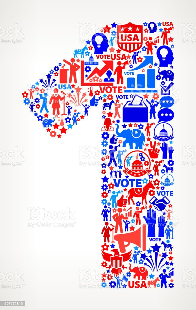 Number 1 Vote and Elections USA Patriotic Icon Pattern vector art illustration