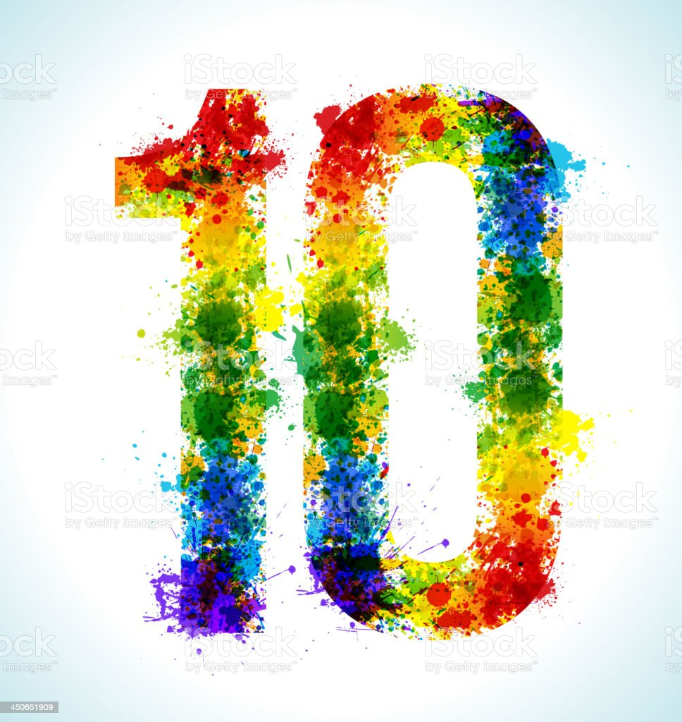 Number 10 covered in different color paint splashes royalty-free stock vector art