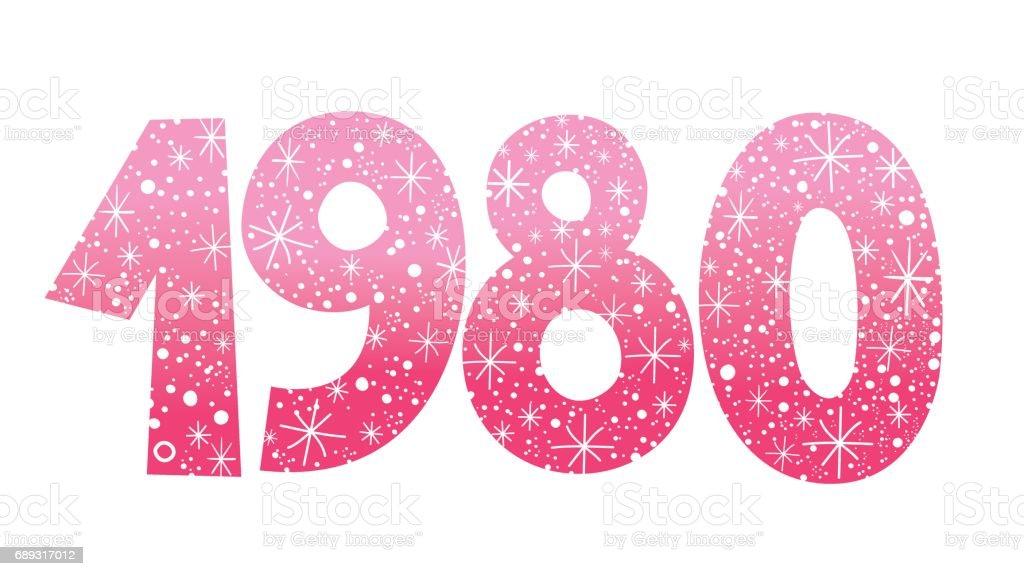 number 1980 vector art illustration