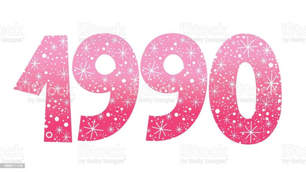 number 1990 vector art illustration