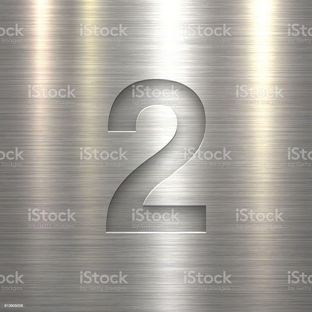 Number 2 Design (Two). Number on Metal Texture Background vector art illustration