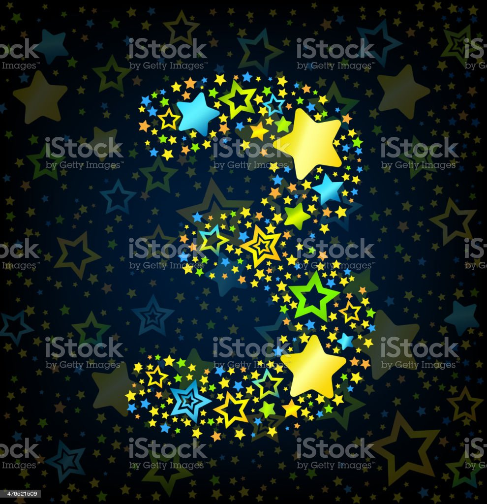 Number 3 cartoon star colored royalty-free stock vector art