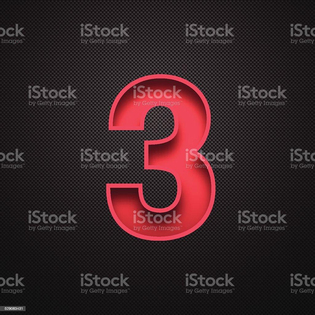 Number 3 Design (Three). Red Number on Carbon Fiber Background vector art illustration