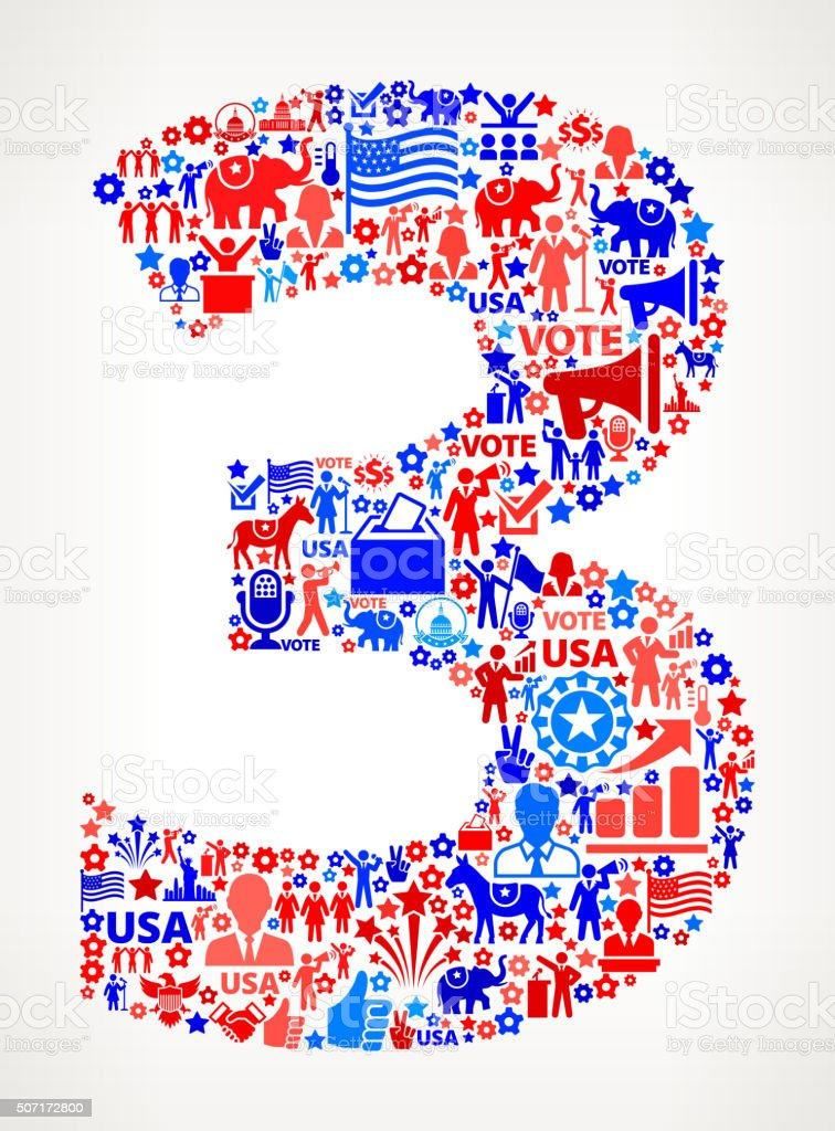 Number 3 Vote and Elections USA Patriotic Icon Pattern vector art illustration