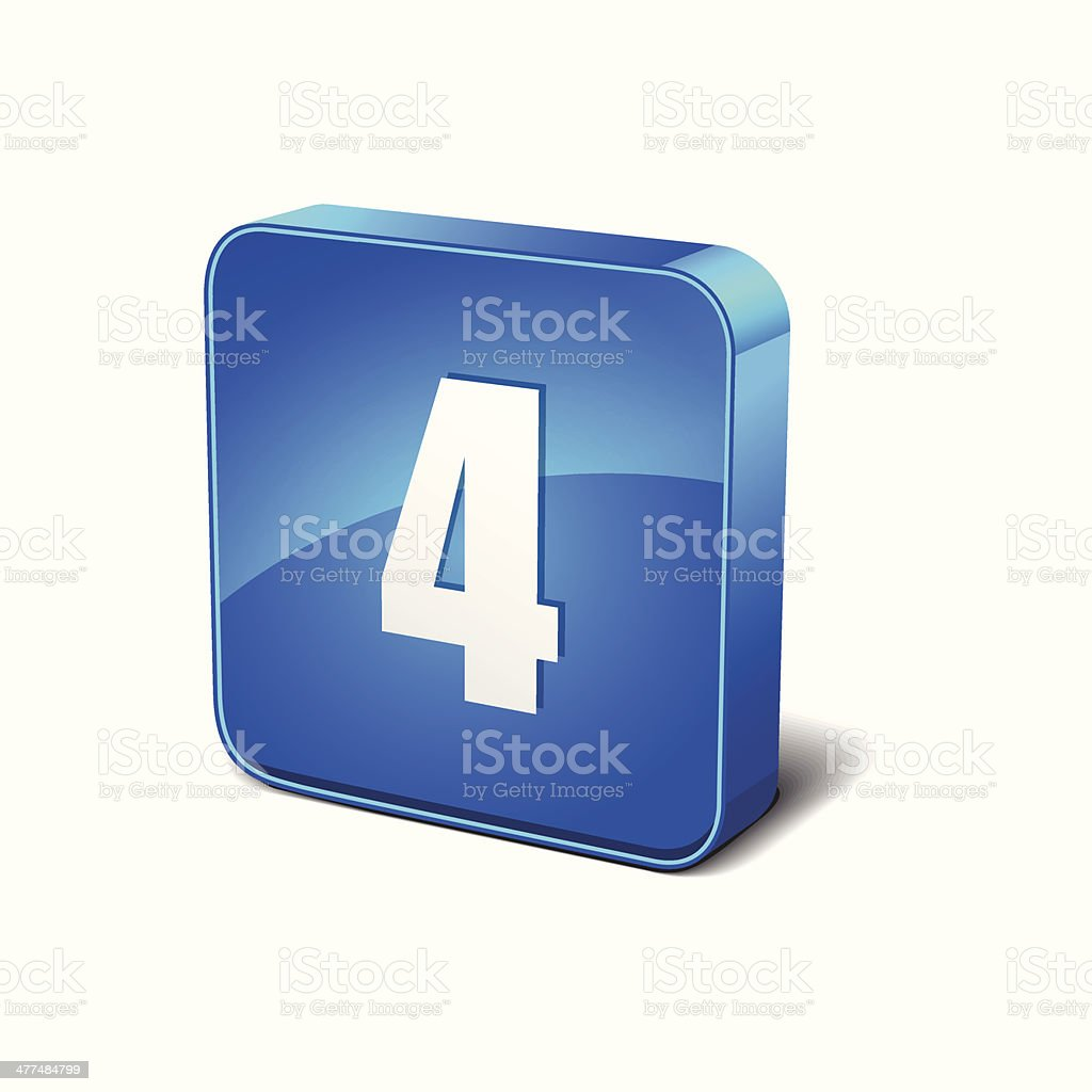 4 Number 3d Rounded Corner Blue Vector Icon Button royalty-free stock vector art