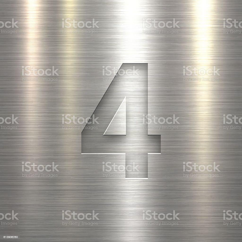 Number 4 Design (Four). Number on Metal Texture Background vector art illustration