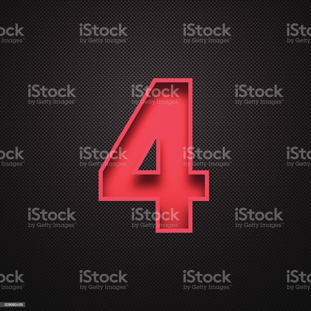 Number 4 Design (Four). Red Number on Carbon Fiber Background vector art illustration
