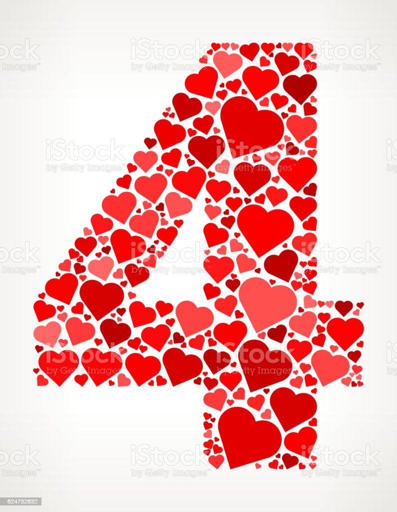 Number 4 Icon with Red Hearts Love Pattern vector art illustration