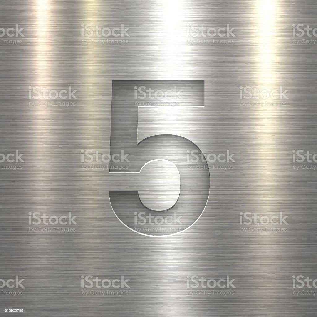 Number 5 Design (Five). Number on Metal Texture Background vector art illustration