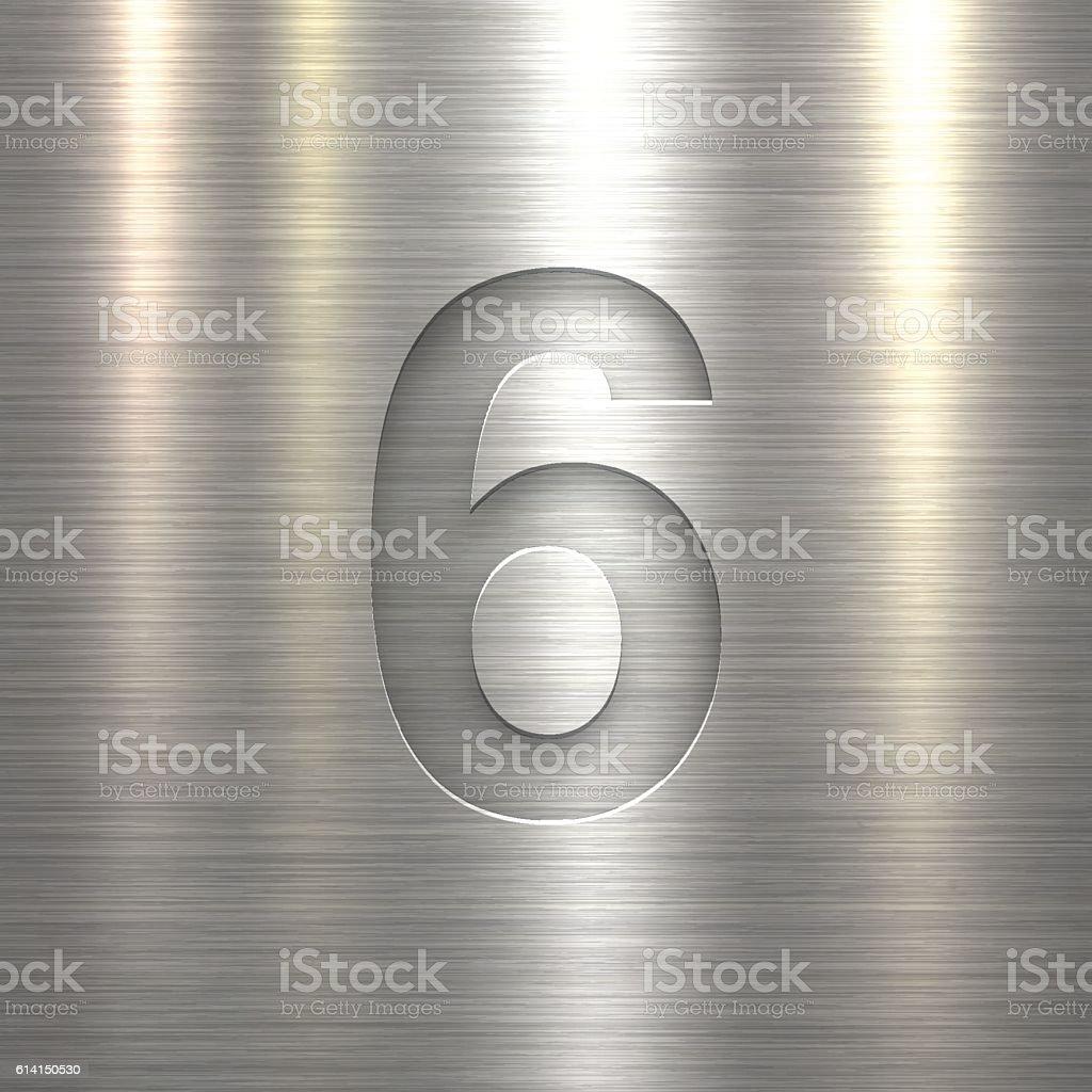 Number 6 Design (Six). Number on Metal Texture Background vector art illustration