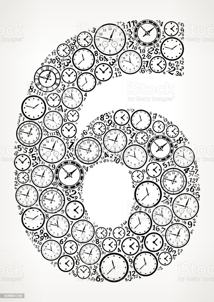 Number 6 on Time and Clock Vector Icon Pattern vector art illustration