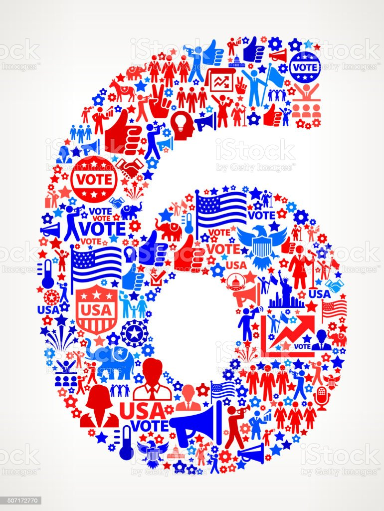 Number 6 Vote and Elections USA Patriotic Icon Pattern vector art illustration