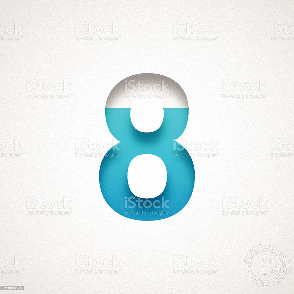 Number 8 Design (Eight) - Blue Number on Watercolor Paper vector art illustration