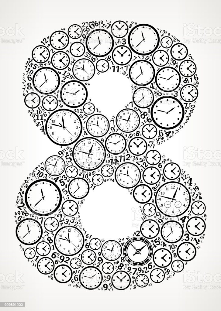 Number 8 on Time and Clock Vector Icon Pattern vector art illustration