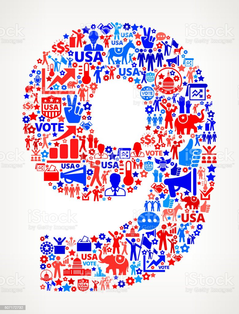 Number 9 Vote and Elections USA Patriotic Icon Pattern vector art illustration