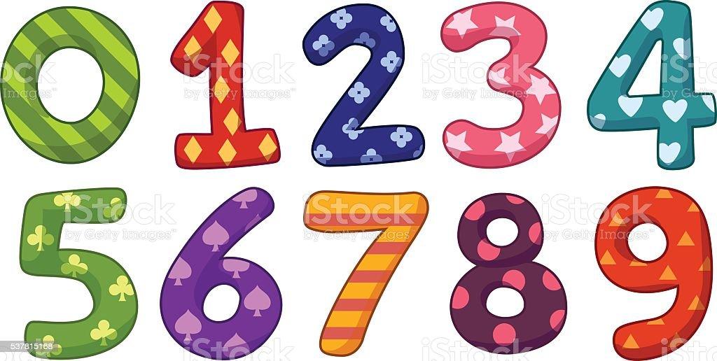 Number cartoon style vector art illustration