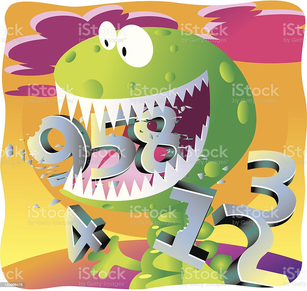 Number Cruncher Monster Dinosaur royalty-free stock vector art